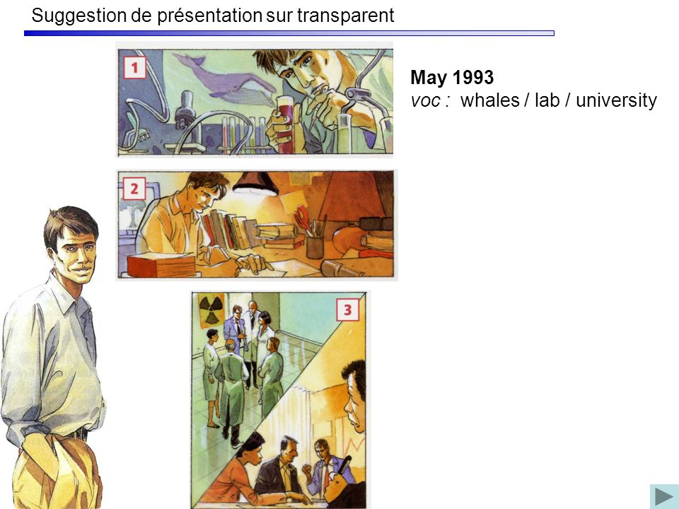 Suggestion de présentation sur transparent May 1993 voc : whales / lab / university
