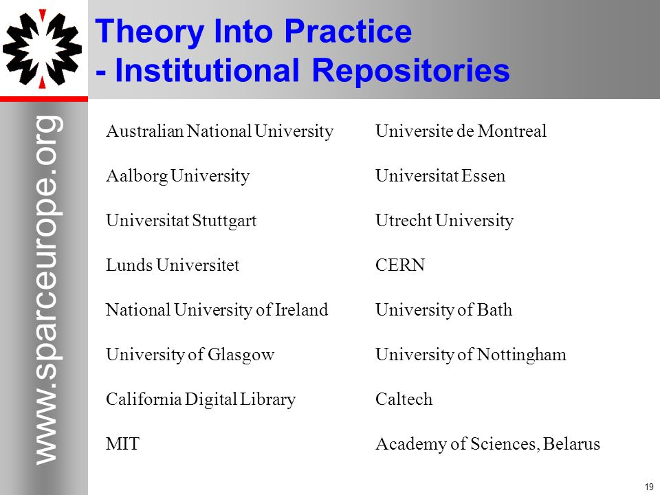 19 www.sparceurope.org 19 Theory Into Practice - Institutional Repositories Australian National UniversityUniversite de Montreal Aalborg UniversityUni
