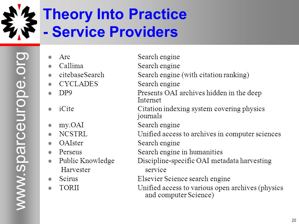 20 www.sparceurope.org 20 Theory Into Practice - Service Providers Arc Search engine Callima Search engine citebaseSearchSearch engine (with citation