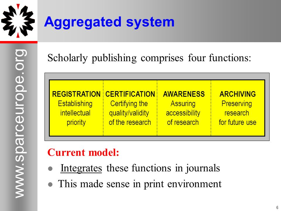 6 www.sparceurope.org 6 Aggregated system Scholarly publishing comprises four functions: Current model: Integrates these functions in journals This ma
