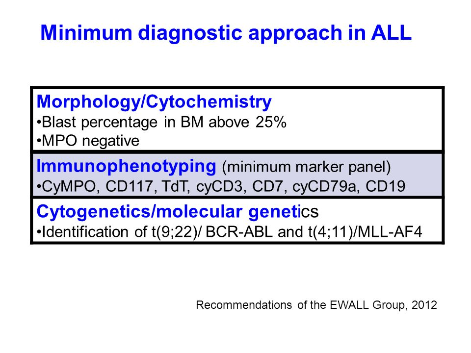 Minimum diagnostic approach in ALL Morphology/Cytochemistry Blast percentage in BM above 25% MPO negative Immunophenotyping (minimum marker panel) CyM