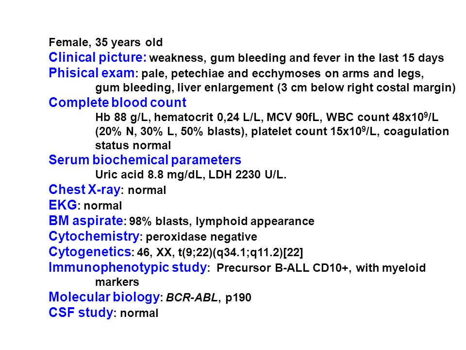 Female, 35 years old Clinical picture: weakness, gum bleeding and fever in the last 15 days Phisical exam : pale, petechiae and ecchymoses on arms and