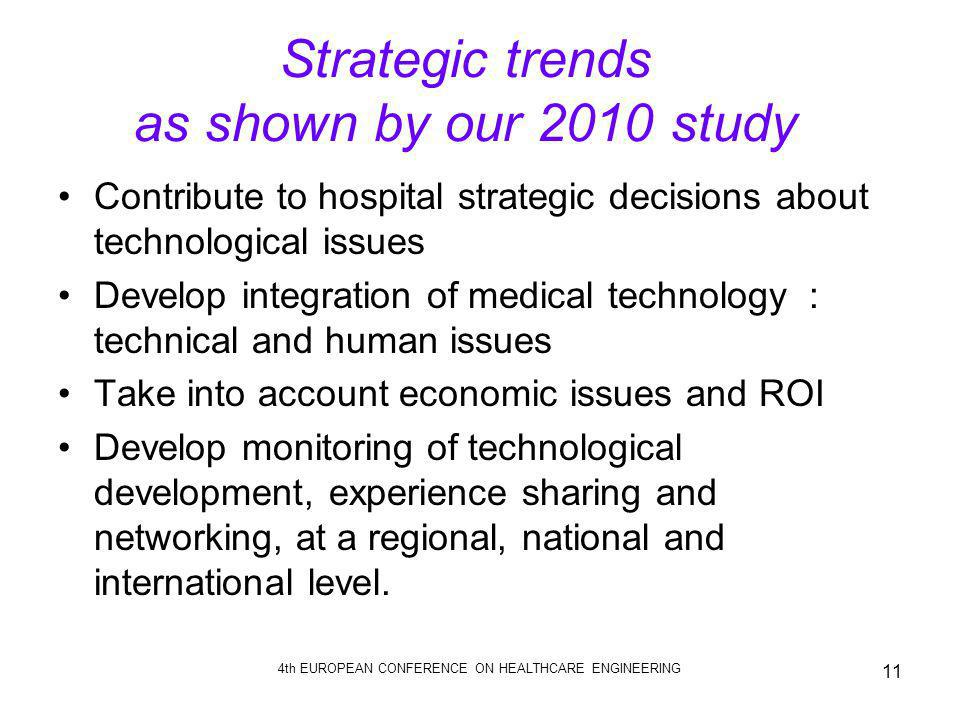 4th EUROPEAN CONFERENCE ON HEALTHCARE ENGINEERING 11 Strategic trends as shown by our 2010 study Contribute to hospital strategic decisions about tech