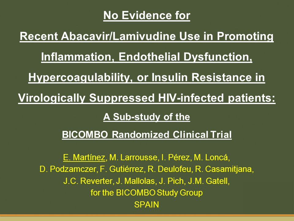 No Evidence for Recent Abacavir/Lamivudine Use in Promoting Inflammation, Endothelial Dysfunction, Hypercoagulability, or Insulin Resistance in Virolo