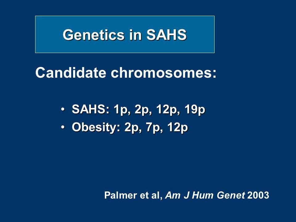 Genetics in SAHS SAHS: 1p, 2p, 12p, 19pSAHS: 1p, 2p, 12p, 19p Obesity: 2p, 7p, 12pObesity: 2p, 7p, 12p Candidate chromosomes: Palmer et al, Am J Hum Genet 2003