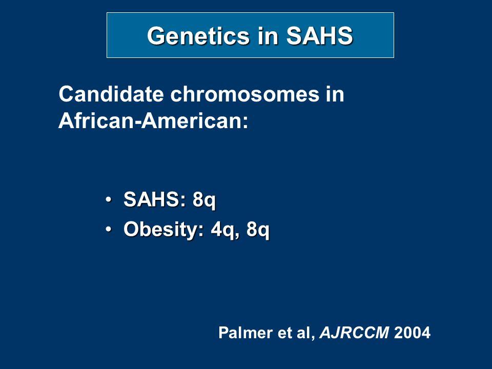 Genetics in SAHS SAHS: 8qSAHS: 8q Obesity: 4q, 8qObesity: 4q, 8q Candidate chromosomes in African-American: Palmer et al, AJRCCM 2004