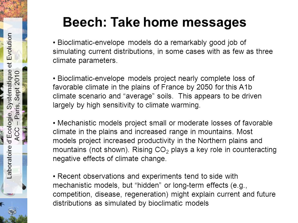 Bioclimatic-envelope models do a remarkably good job of simulating current distributions, in some cases with as few as three climate parameters. Biocl