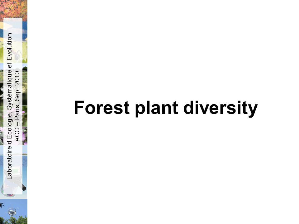 Forest plant diversity Laboratoire dEcologie, Systématique et Evolution ACC – Paris, Sept 2010