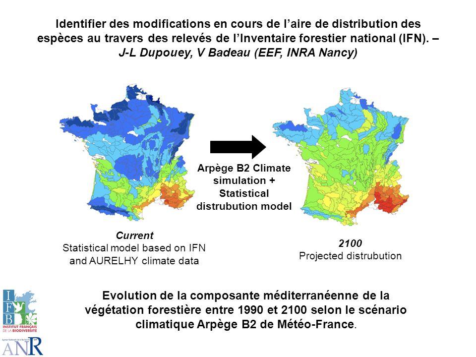 Identifier des modifications en cours de laire de distribution des espèces au travers des relevés de lInventaire forestier national (IFN). – J-L Dupou