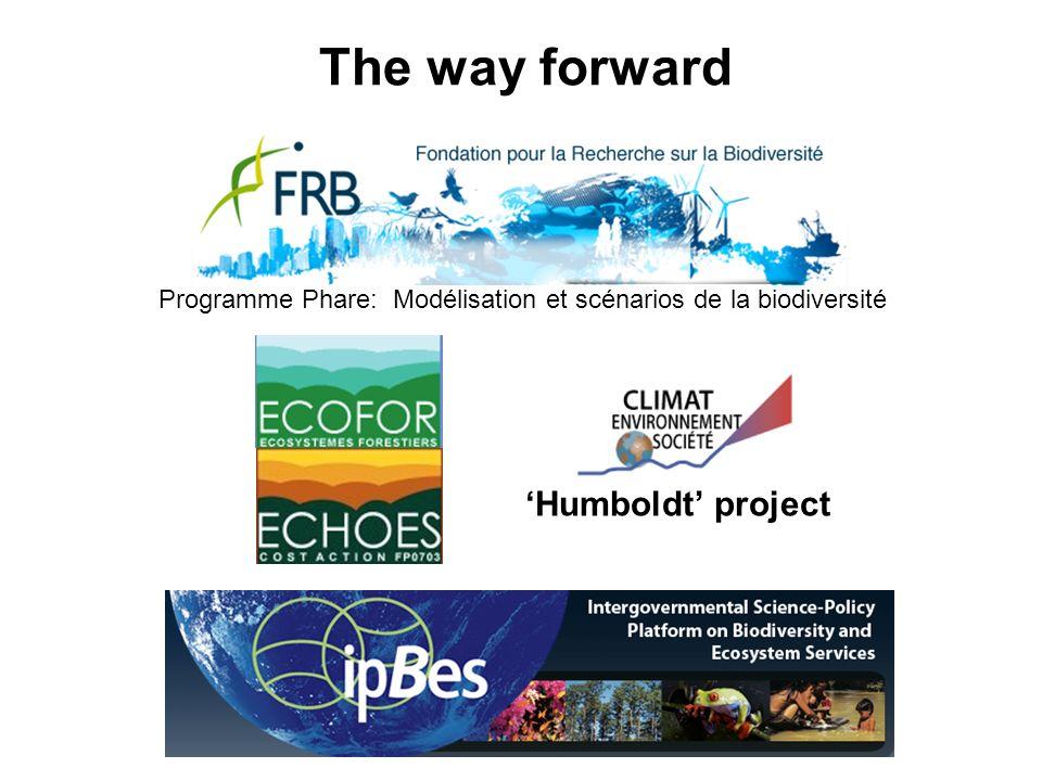 The way forward Programme Phare: Modélisation et scénarios de la biodiversité Humboldt project