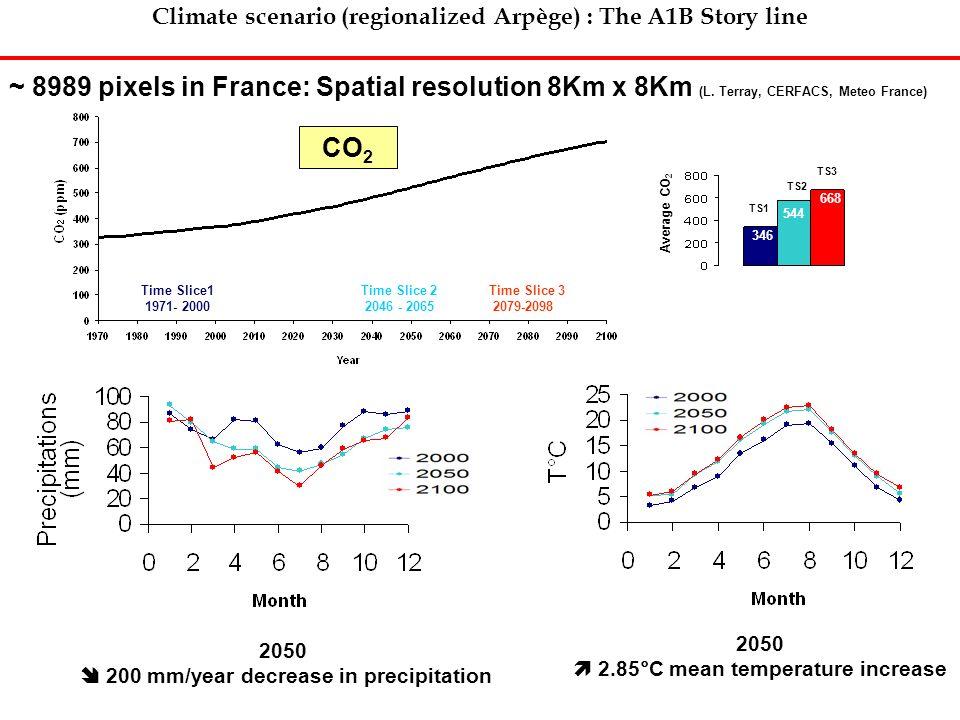 Climate scenario (regionalized Arpège) : The A1B Story line Time Slice1 1971- 2000 Time Slice 2 2046 - 2065 Time Slice 3 2079-2098 ~ 8989 pixels in Fr