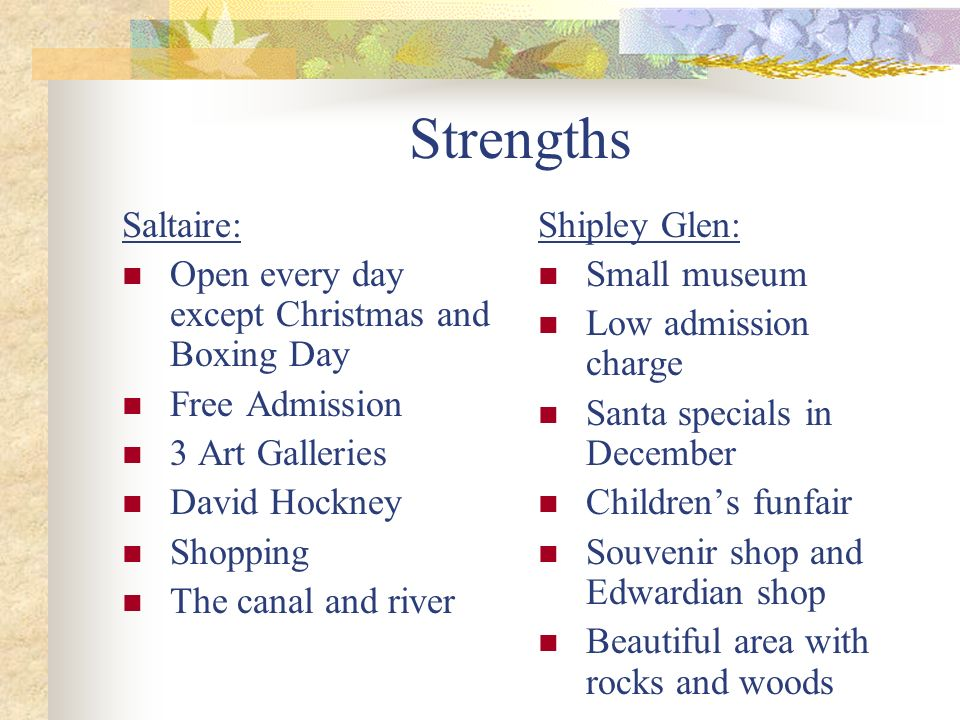 Strengths Saltaire: Open every day except Christmas and Boxing Day Free Admission 3 Art Galleries David Hockney Shopping The canal and river Shipley G