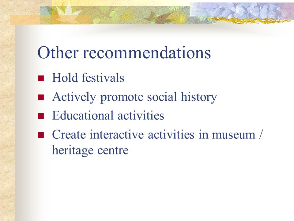 Other recommendations Hold festivals Actively promote social history Educational activities Create interactive activities in museum / heritage centre
