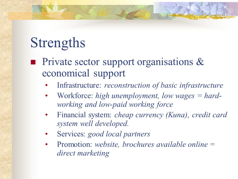 Strengths Private sector support organisations & economical support Infrastructure: reconstruction of basic infrastructure Workforce: high unemploymen