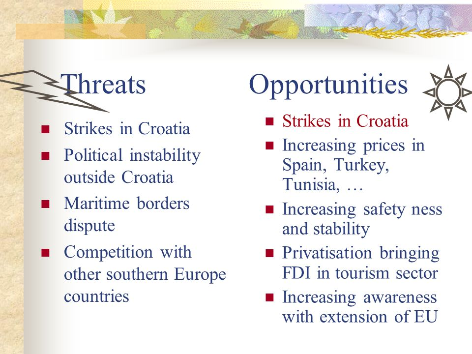 Threats Opportunities Strikes in Croatia Political instability outside Croatia Maritime borders dispute Competition with other southern Europe countri