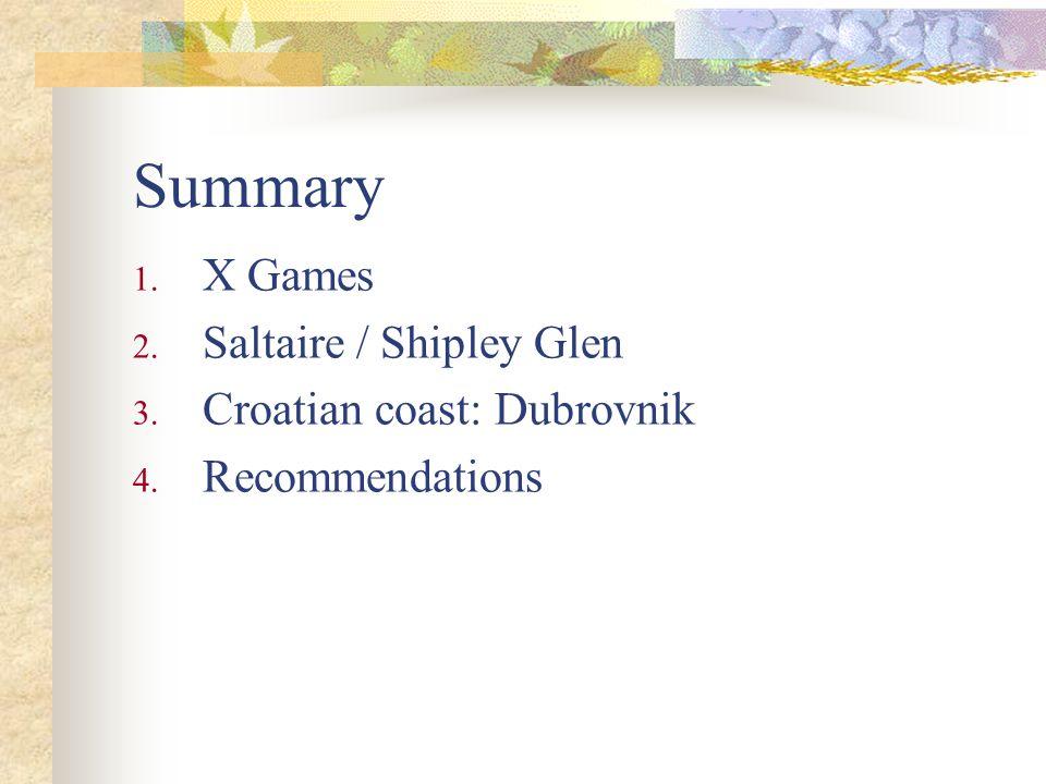 Summary 1. X Games 2. Saltaire / Shipley Glen 3. Croatian coast: Dubrovnik 4. Recommendations