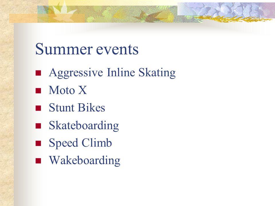 Summer events Aggressive Inline Skating Moto X Stunt Bikes Skateboarding Speed Climb Wakeboarding