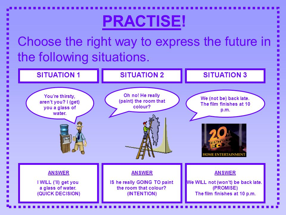 PRACTISE! Choose the right way to express the future in the following situations. SITUATION 1SITUATION 2SITUATION 3 Youre thirsty, arent you? I (get)