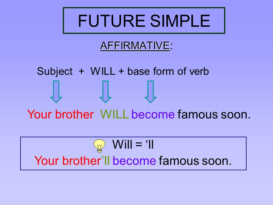 FUTURE SIMPLE AFFIRMATIVE AFFIRMATIVE: Subject + WILL + base form of verb Your brother WILL become famous soon. Will = ll Your brotherll become famous