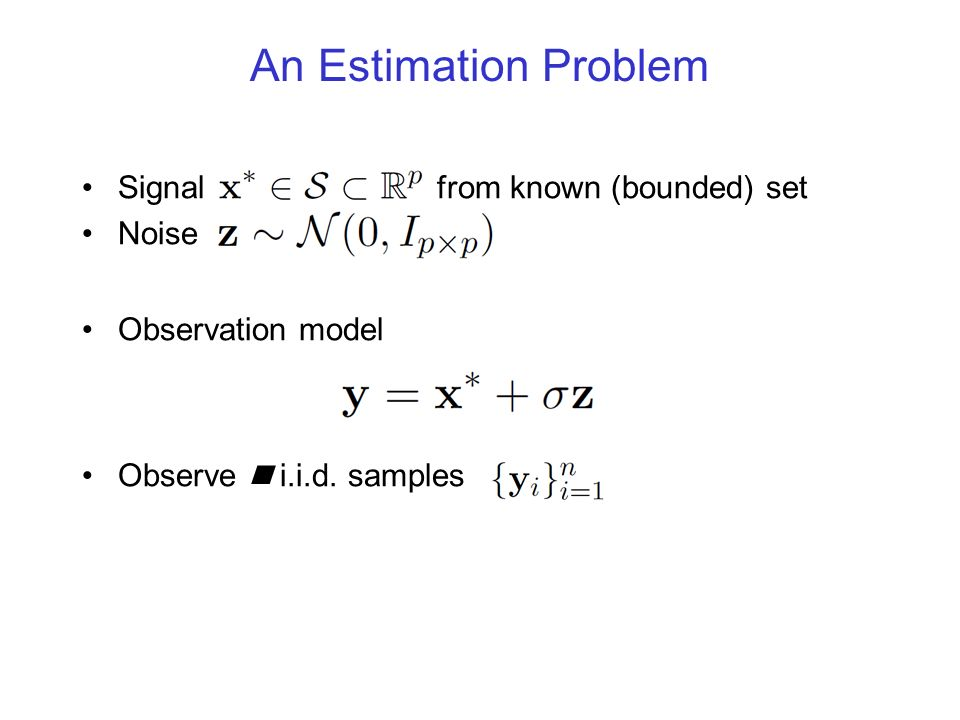 An Estimation Problem Signal from known (bounded) set Noise Observation model Observe n i.i.d. samples