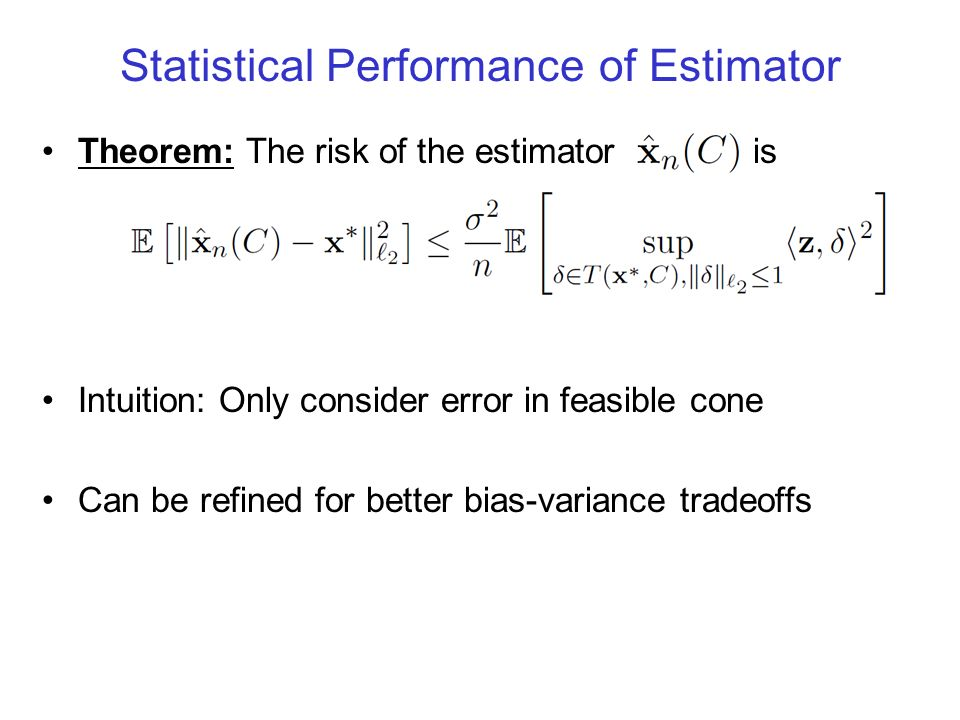 Statistical Performance of Estimator Theorem: The risk of the estimator is Intuition: Only consider error in feasible cone Can be refined for better b