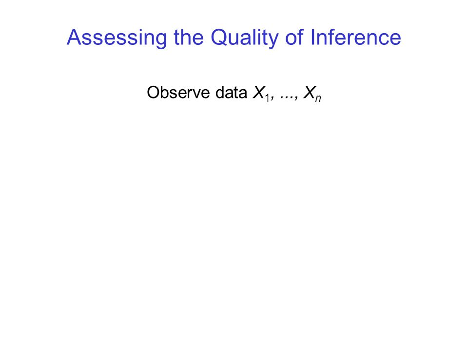 Assessing the Quality of Inference Observe data X 1,..., X n