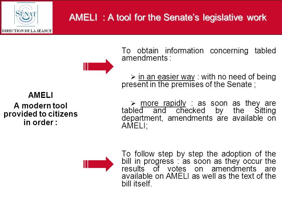 AMELI : A tool for the Senates legislative work AMELI A modern tool provided to citizens in order : To obtain information concerning tabled amendments : in an easier way : with no need of being present in the premises of the Senate ; more rapidly : as soon as they are tabled and checked by the Sitting department, amendments are available on AMELI; To follow step by step the adoption of the bill in progress : as soon as they occur the results of votes on amendments are available on AMELI as well as the text of the bill itself.