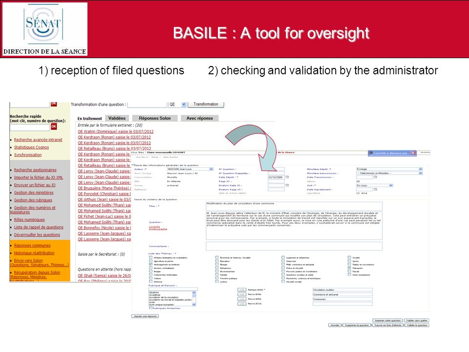 1) reception of filed questions 2) checking and validation by the administrator