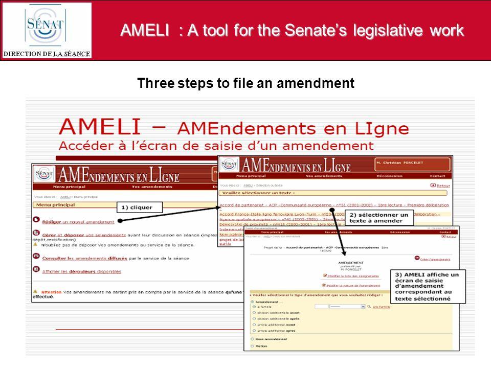 AMELI : A tool for the Senates legislative work Three steps to file an amendment