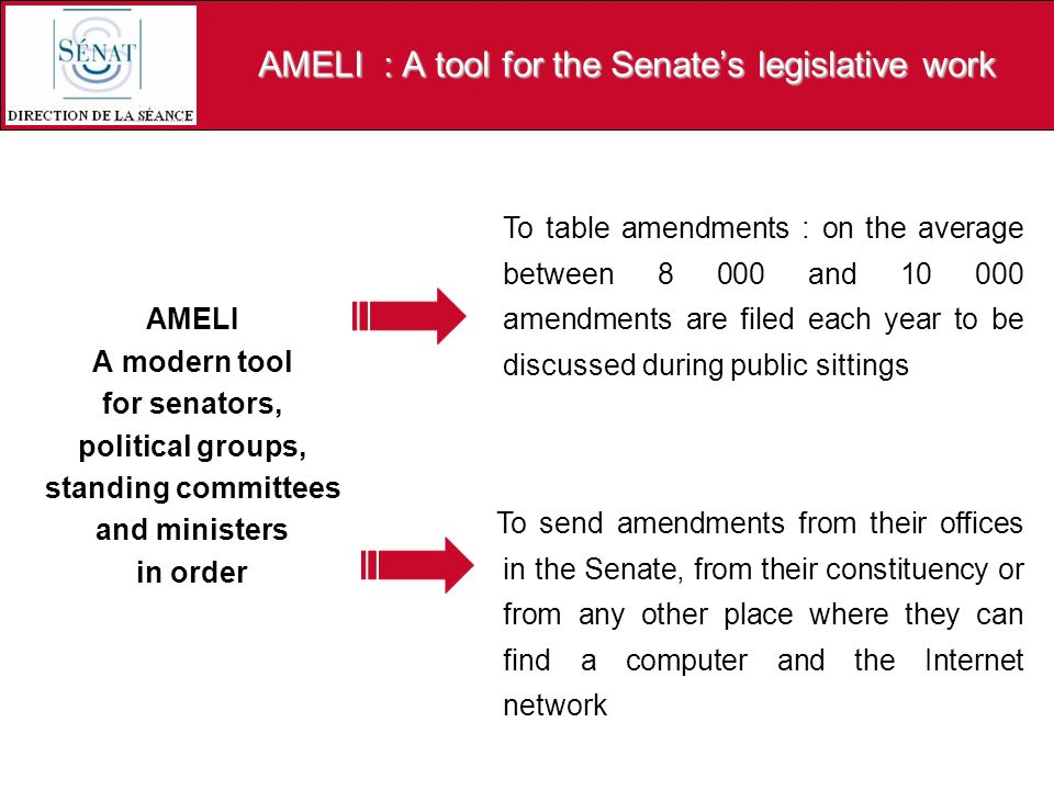 AMELI : A tool for the Senates legislative work AMELI A modern tool for senators, political groups, standing committees and ministers in order To tabl