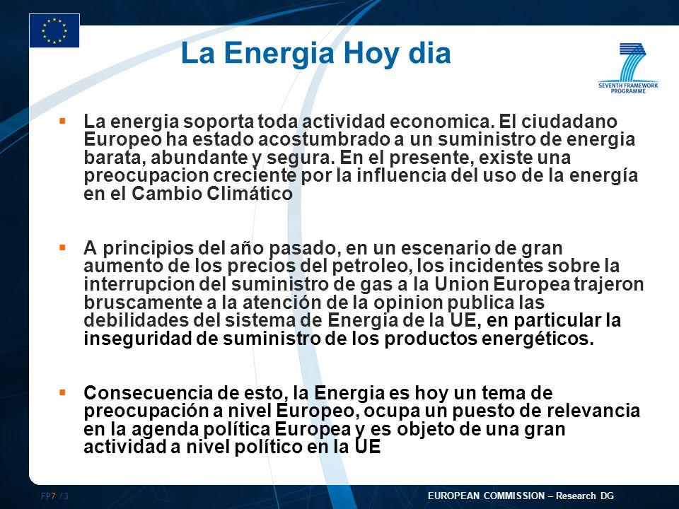 FP7 /3 EUROPEAN COMMISSION – Research DG La Energia Hoy dia La energia soporta toda actividad economica.