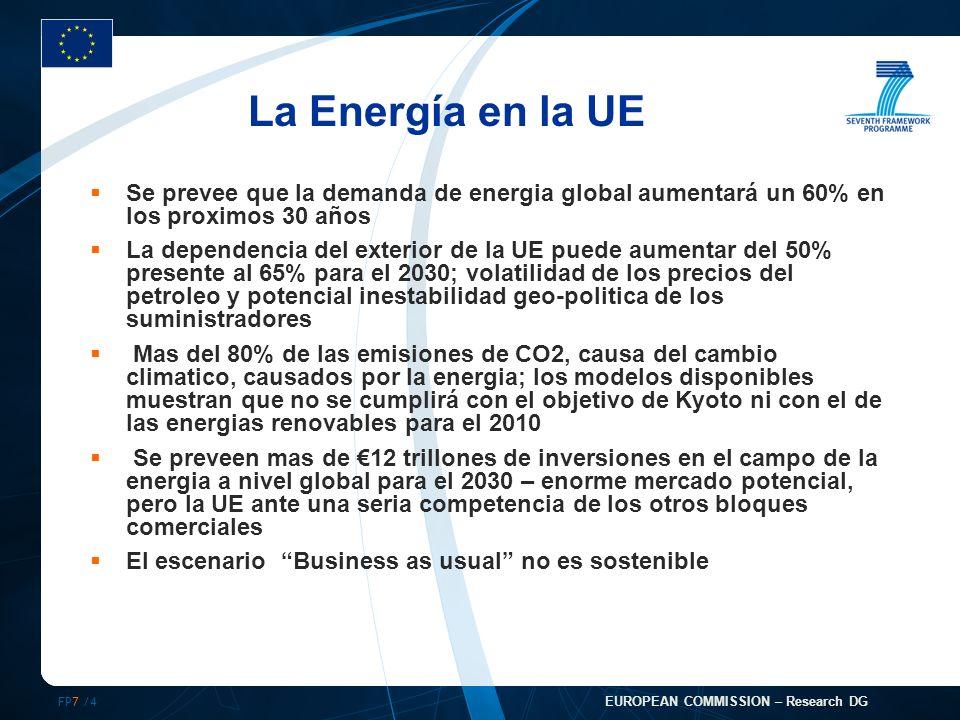 FP7 /4 EUROPEAN COMMISSION – Research DG La Energía en la UE Se prevee que la demanda de energia global aumentará un 60% en los proximos 30 años La dependencia del exterior de la UE puede aumentar del 50% presente al 65% para el 2030; volatilidad de los precios del petroleo y potencial inestabilidad geo-politica de los suministradores Mas del 80% de las emisiones de CO2, causa del cambio climatico, causados por la energia; los modelos disponibles muestran que no se cumplirá con el objetivo de Kyoto ni con el de las energias renovables para el 2010 Se preveen mas de 12 trillones de inversiones en el campo de la energia a nivel global para el 2030 – enorme mercado potencial, pero la UE ante una seria competencia de los otros bloques comerciales El escenario Business as usual no es sostenible