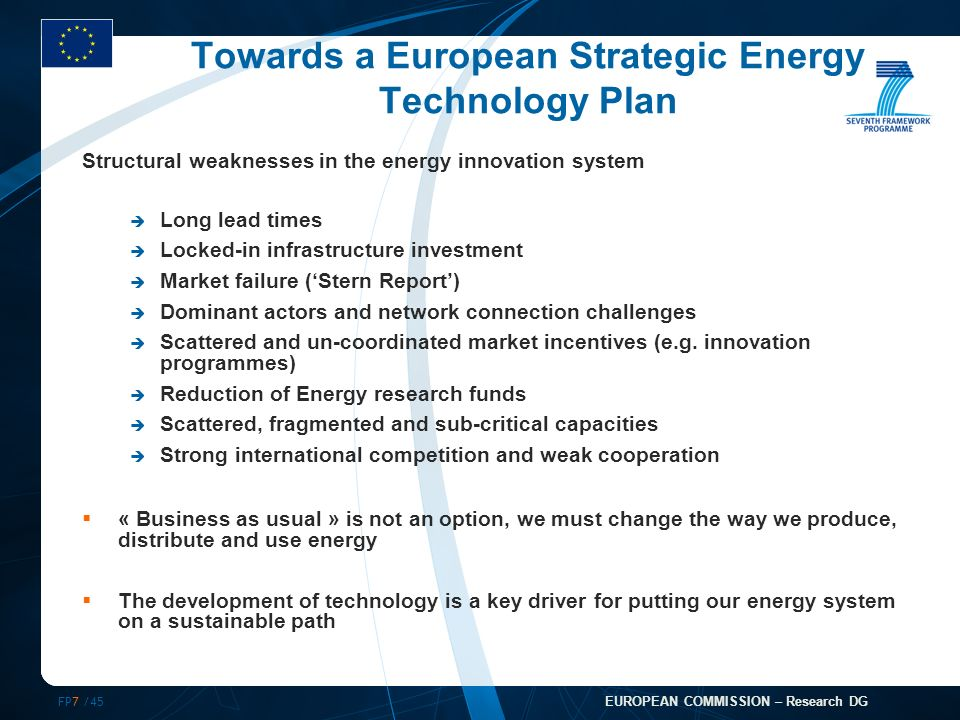 FP7 /45 EUROPEAN COMMISSION – Research DG Towards a European Strategic Energy Technology Plan Structural weaknesses in the energy innovation system Long lead times Locked-in infrastructure investment Market failure (Stern Report) Dominant actors and network connection challenges Scattered and un-coordinated market incentives (e.g.