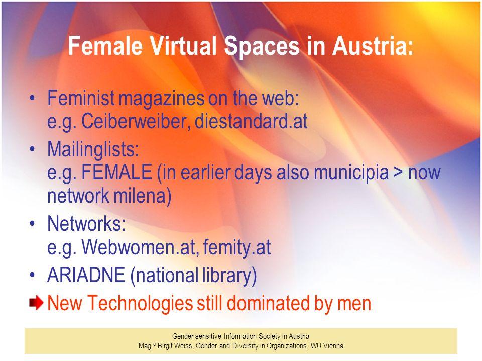 Gender-sensitive Information Society in Austria Mag. a Birgit Weiss, Gender and Diversity in Organizations, WU Vienna Female Virtual Spaces in Austria