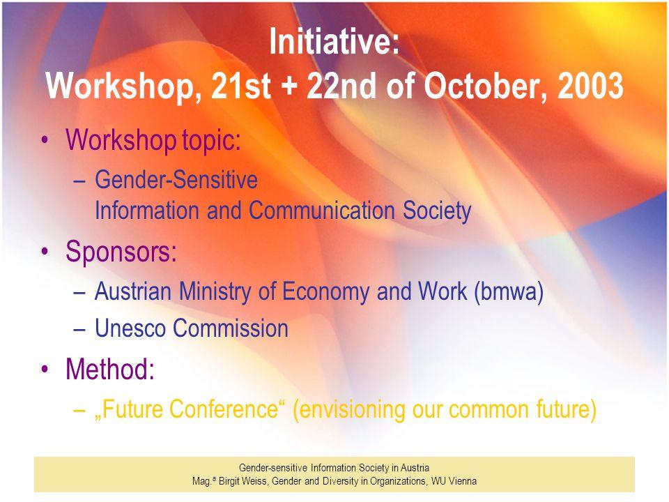 Gender-sensitive Information Society in Austria Mag. a Birgit Weiss, Gender and Diversity in Organizations, WU Vienna Initiative: Workshop, 21st + 22n