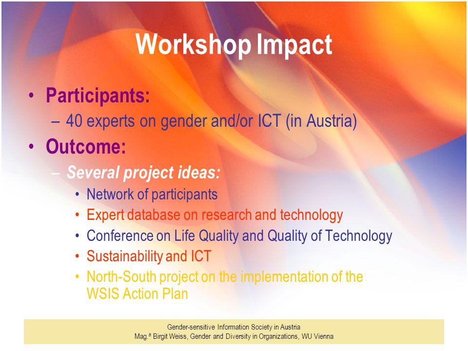 Gender-sensitive Information Society in Austria Mag. a Birgit Weiss, Gender and Diversity in Organizations, WU Vienna Workshop Impact Participants: –4