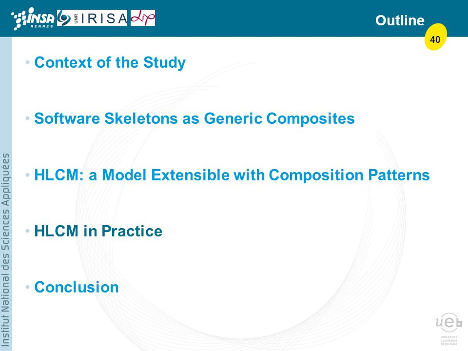 40 Outline Context of the Study Software Skeletons as Generic Composites HLCM: a Model Extensible with Composition Patterns HLCM in Practice Conclusion