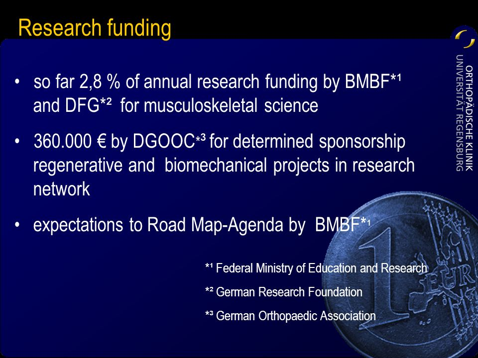 so far 2,8 % of annual research funding by BMBF*¹ and DFG*² for musculoskeletal science 360.000 by DGOOC * ³ for determined sponsorship regenerative a