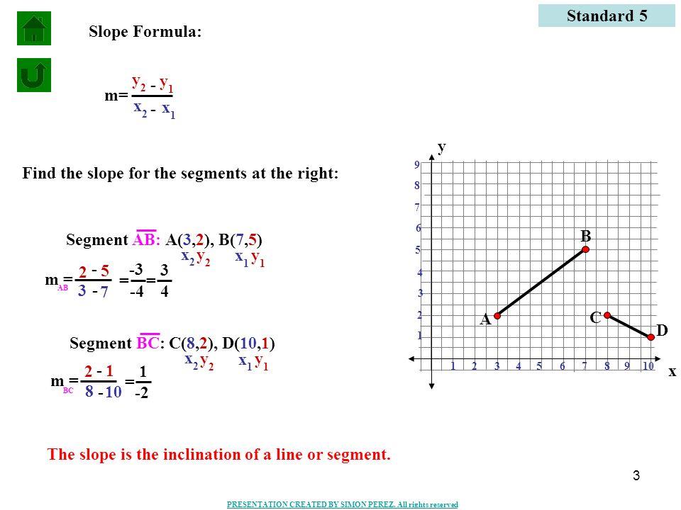 3 Standard 5 m= y 1 y 2 x 1 x 2 - - Segment AB:A(3,2), B(7,5) y 1 y 2 x 1 x 2 3 7 2 5 = -3 -4 = 3 4 Segment BC:C(8,2), D(10,1) y 1 y 2 x 1 x 2 8 10 2