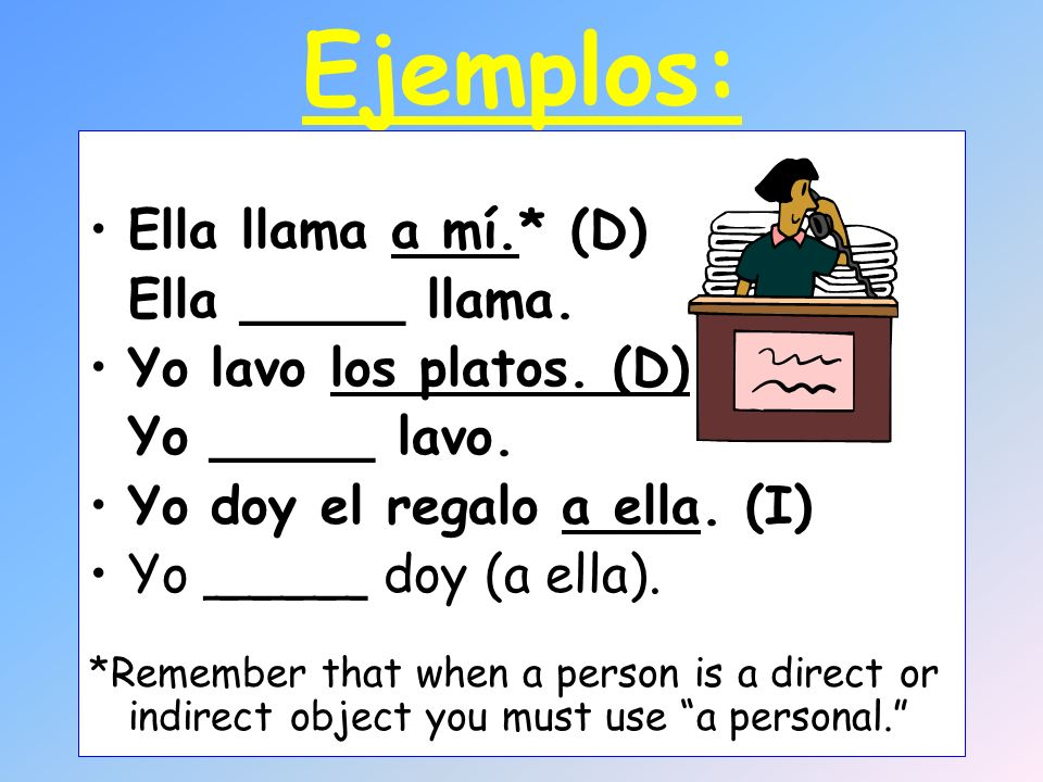 What are the indirect object pronouns? (to, for me) (to, for us) (to, for you) (to, for you guys) (to, for him/her/you) (to, for them, you all)