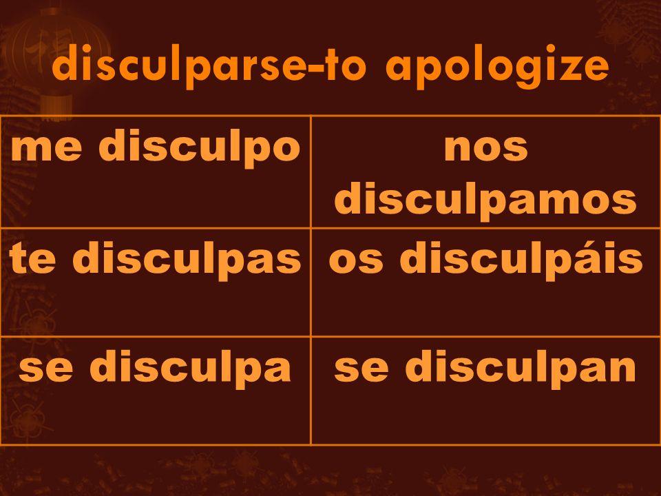 me disculponos disculpamos te disculpasos disculpáis se disculpase disculpan