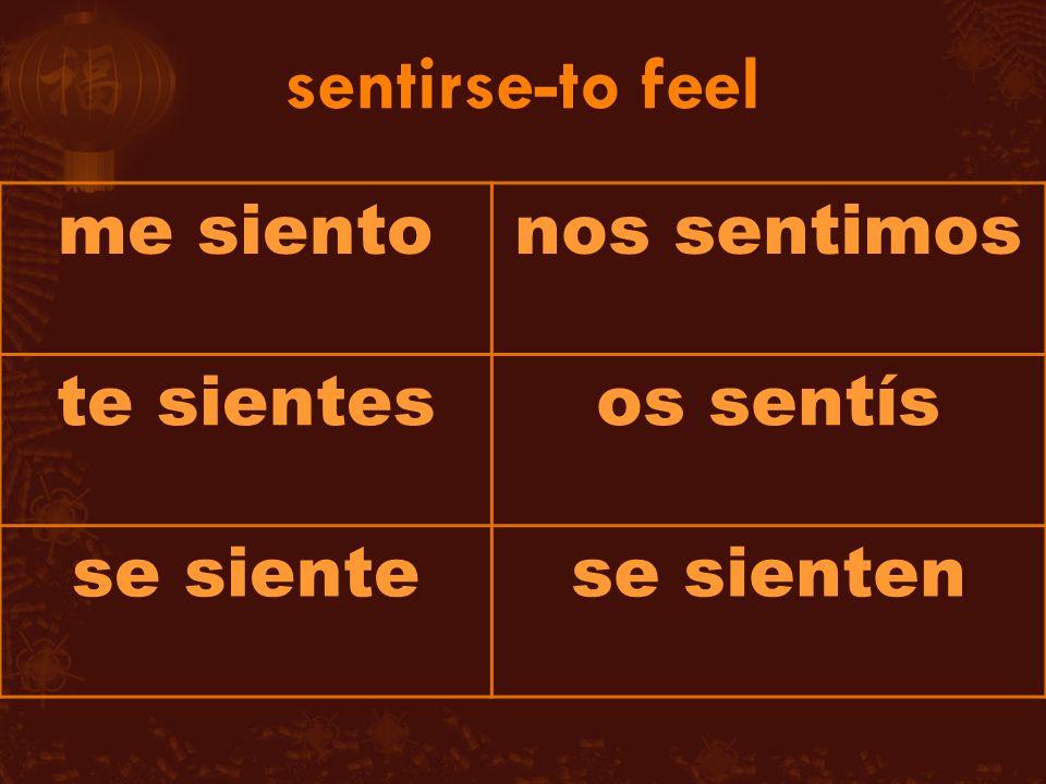 me sientonos sentimos te sientesos sentís se sientese sienten
