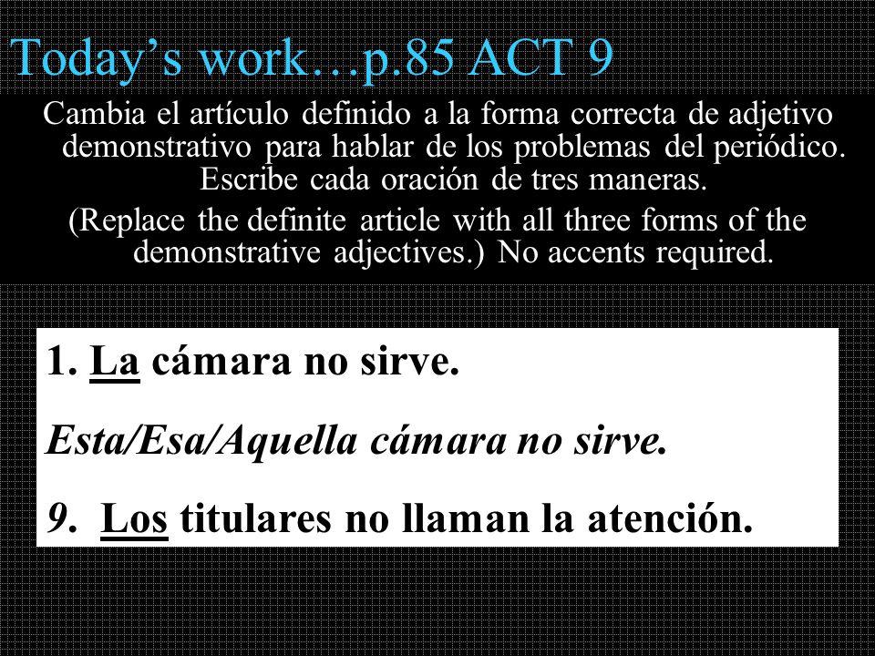 Todays work…p.85 ACT 9 Cambia el artículo definido a la forma correcta de adjetivo demonstrativo para hablar de los problemas del periódico. Escribe c