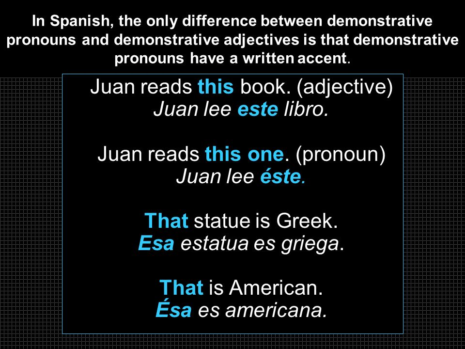 In Spanish, the only difference between demonstrative pronouns and demonstrative adjectives is that demonstrative pronouns have a written accent. Juan