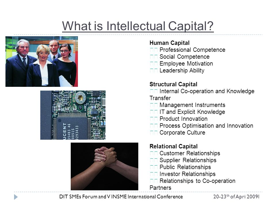What is Intellectual Capital? DIT SMEs Forum and V INSME International Conference20-23 th of Apri 2009l Human Capital Professional Competence Social C