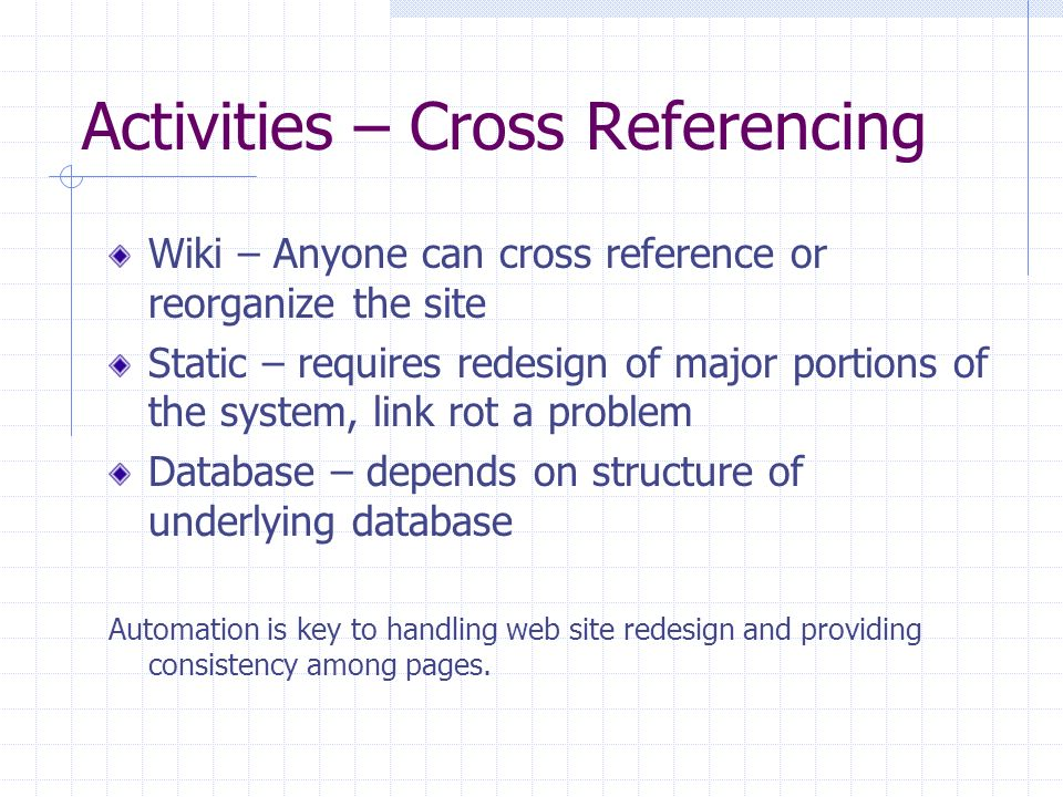 Activities – Cross Referencing Wiki – Anyone can cross reference or reorganize the site Static – requires redesign of major portions of the system, link rot a problem Database – depends on structure of underlying database Automation is key to handling web site redesign and providing consistency among pages.