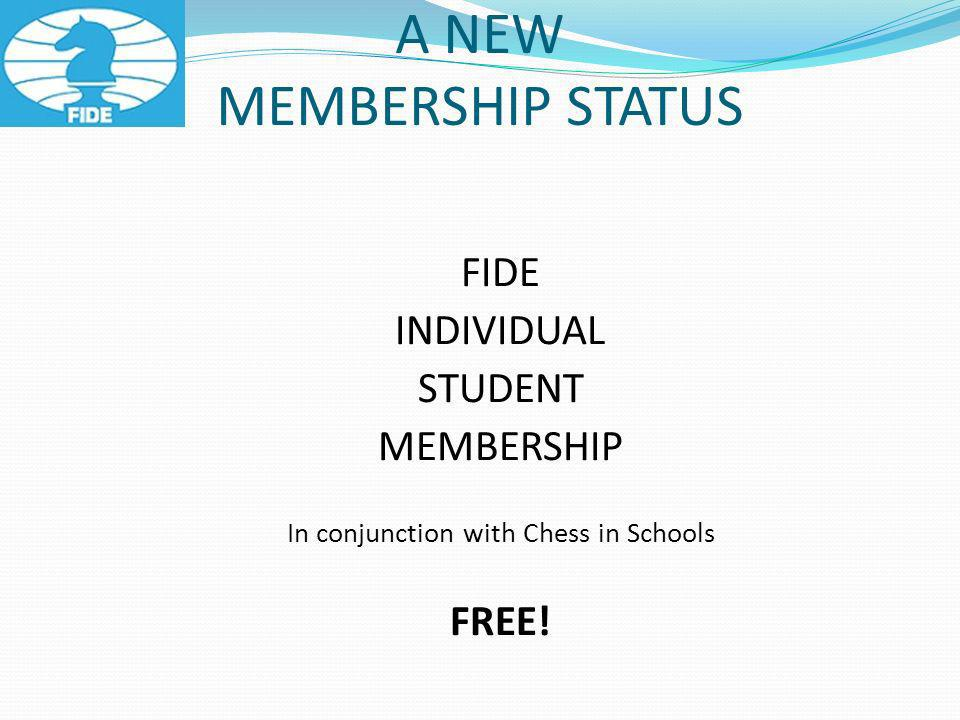 A NEW MEMBERSHIP STATUS FIDE INDIVIDUAL STUDENT MEMBERSHIP In conjunction with Chess in Schools FREE!