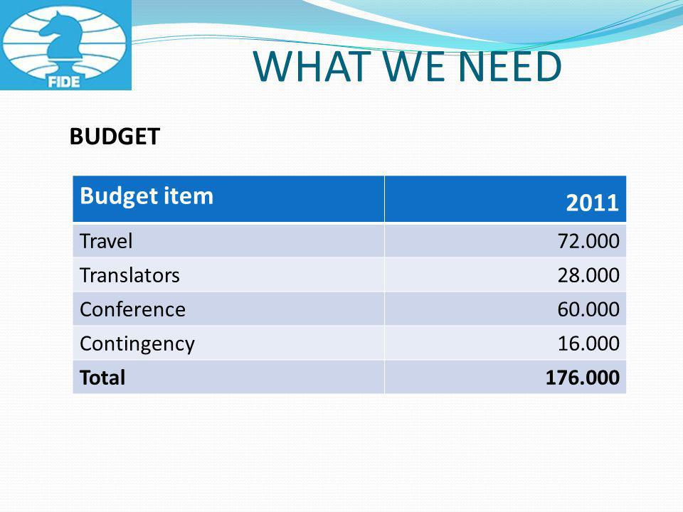 WHAT WE NEED BUDGET Budget item 2011 Travel 72.000 Translators 28.000 Conference 60.000 Contingency 16.000 Total 176.000