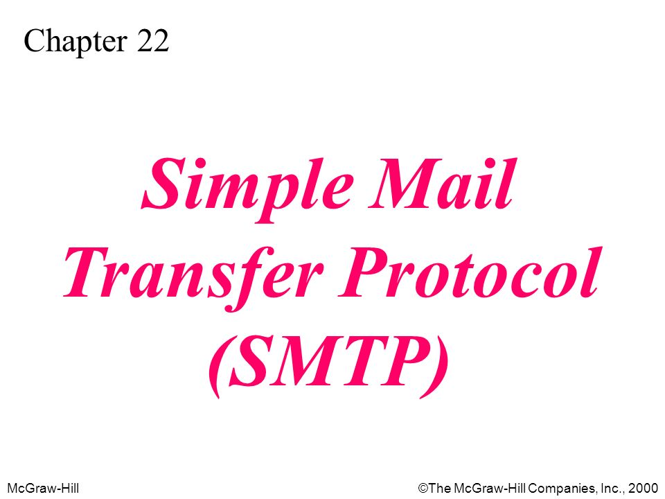McGraw-Hill©The McGraw-Hill Companies, Inc., 2000 Chapter 22 Simple Mail Transfer Protocol (SMTP)