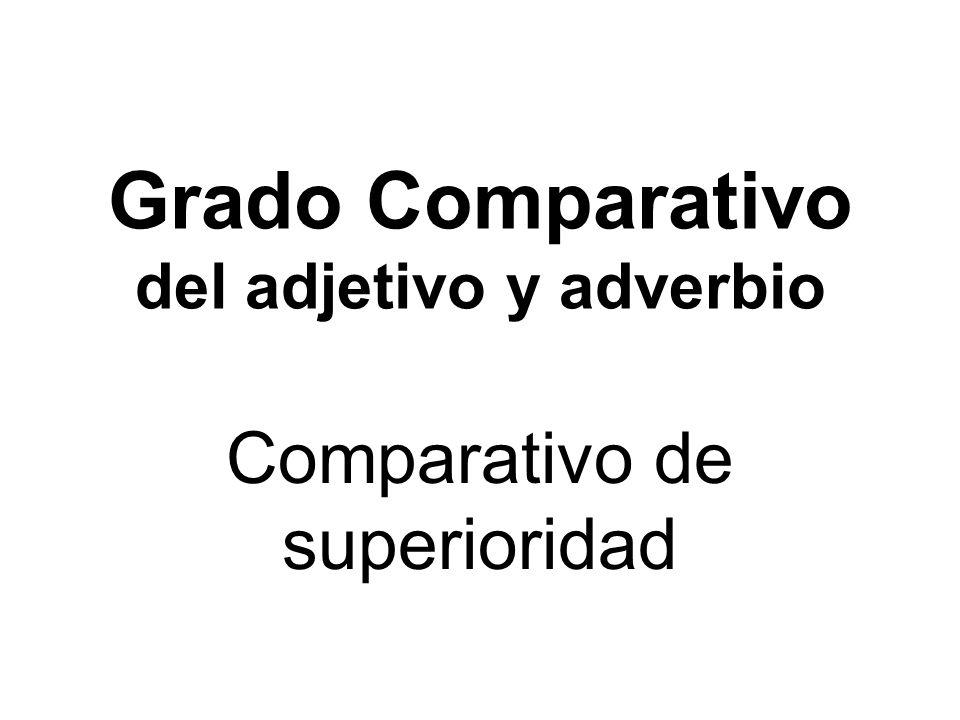 Grado Comparativo del adjetivo y adverbio Comparativo de superioridad